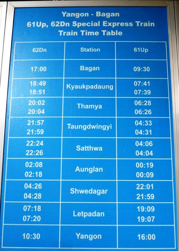 Birmania trasporti treno orario