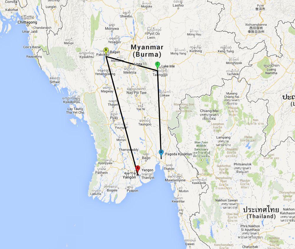 Mappa Birmania