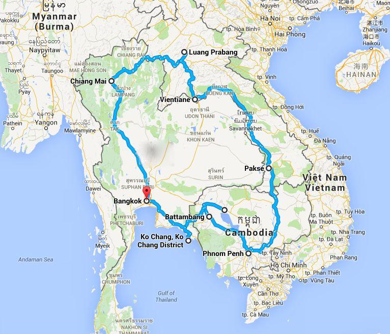 Tra Vietnam E Thailandia Cartina Geografica.Indocina Itinerario Mappa E Costi Del Viaggio