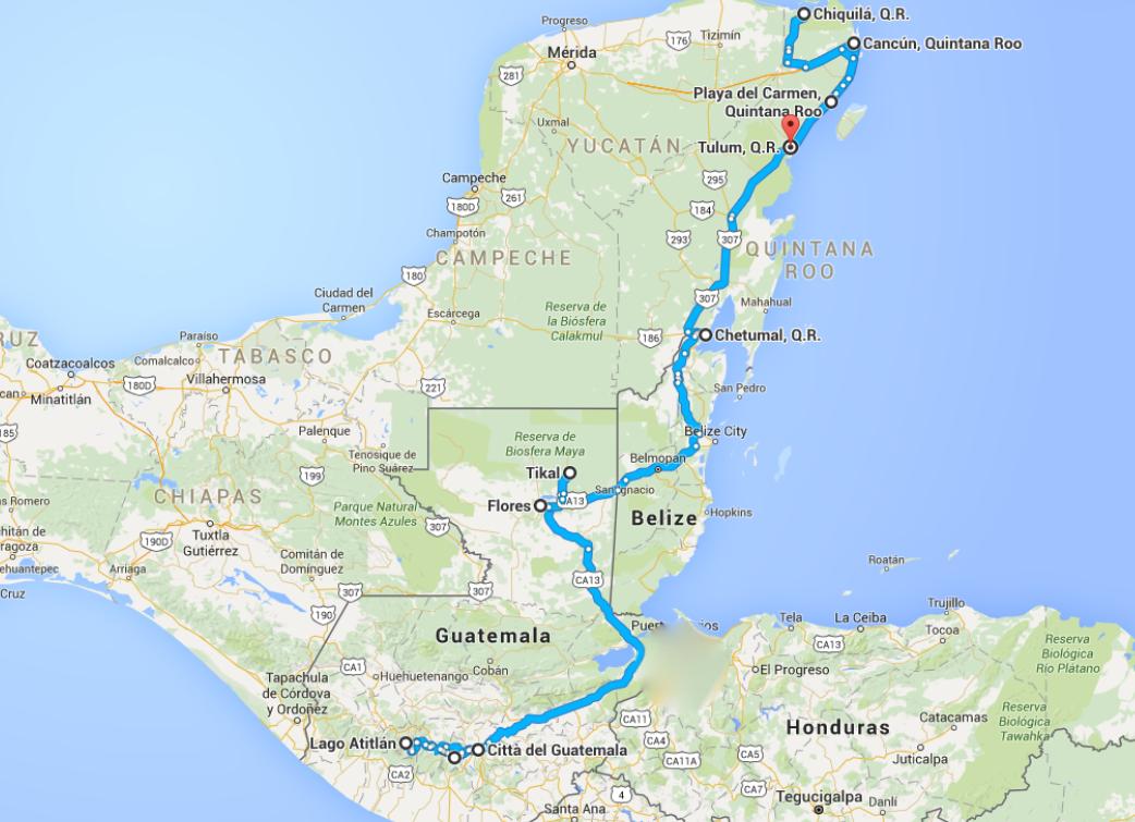Cartina Yucatan E Chiapas.Guatemala E Messico Itinerario Costi E Mappe