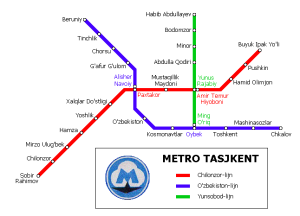 La mappa delle metro di Tashkent