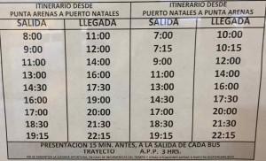 Parco del Paine come arrivare - Gli orari dei bus da Punta Arenas a Puerto Natales