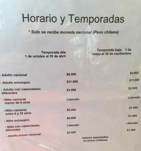 Parco del Paine informazioni - Il costo del biglietto