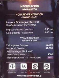Grotta del Milodon prezzi