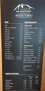 Rifugio Torino - I prezzi del bar e del ristorante