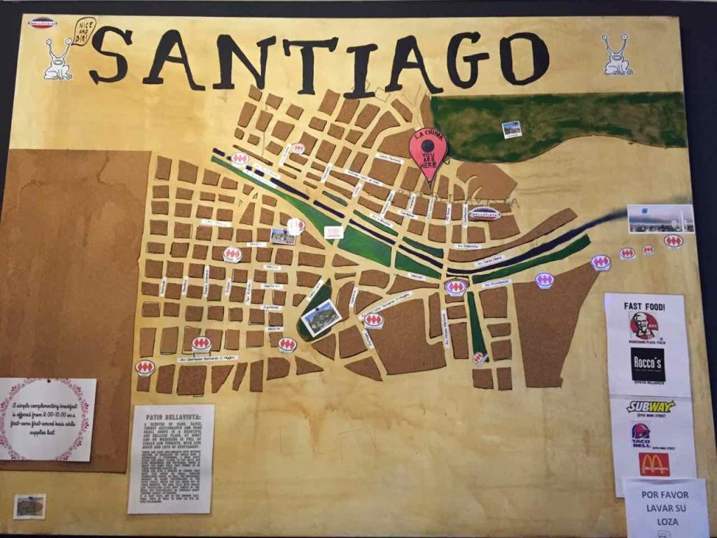 """Mappa """"rivisitata"""" di Santiago del Cile"""