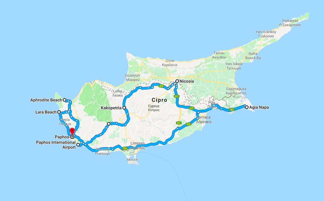 Cipro itinerario del viaggio