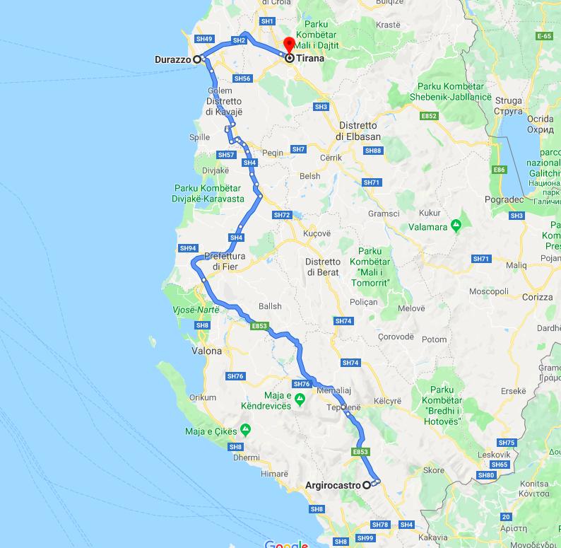 Albania itinerario: Girocastro / Durazzo / Tirana